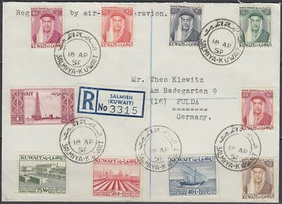 1959 Kuwait R-Cover to Germany, SALMIYA cds, Definitve issue [bl0430]