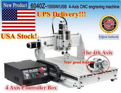 【US】4 Axis 6040 1500W USB Mach3 Engrave Drilling/Milling CNC Router Machine 110V