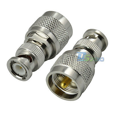 UHF PL259 Male Plug to BNC Male Plug Straight RF Coxial Adapter Connector