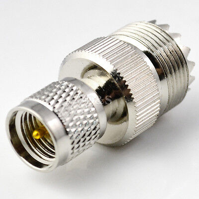 UHF Female SO239 Jack to Mini UHF Male PL259 RF Coaxial Adapter Connector
