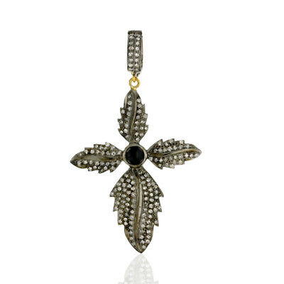Pave Diamond Onyx 18k Gold Sterling Silver Feather Cross Pendant Antique Jewelry