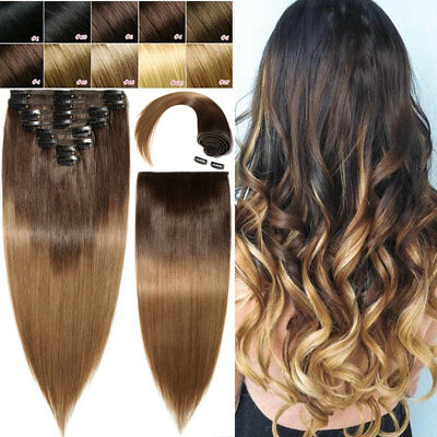 Extra Thick Double Wefted Clip In Remy Human Hair Extensions Ombre 8Pcs 160g UK