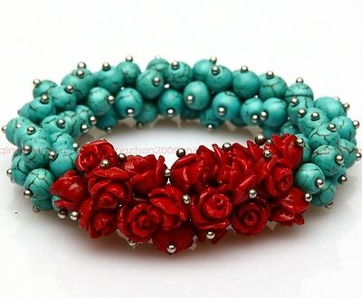 natural turquoise bead red coral clusters flowers Lucky girl bracelets