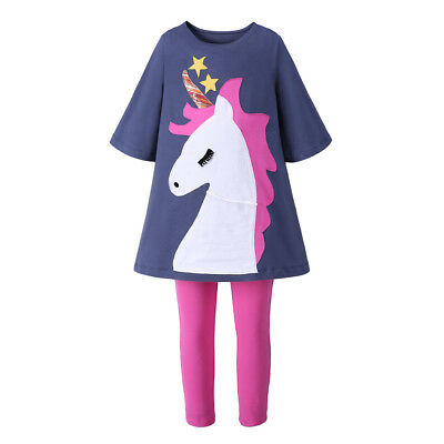 Girls Unicorn Clothes Set Kids Tunic Top and Leggings Sets Summer Casual Outfit