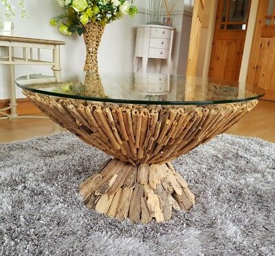 Excellent Elegant Glass Topped Round Driftwood Coffee Side Table Uwap Interior Chair Design Uwaporg