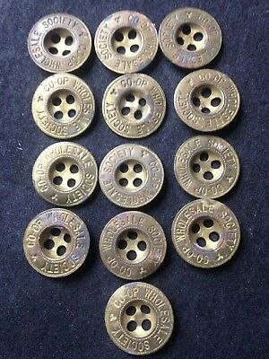 Rare Co - Op  Wholesale Society Antique  Set Of 13 Buttons  Free Post