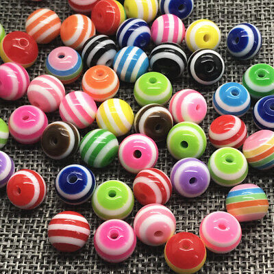 DIY 6mm 100pcs Acrylic Spacer Round Pearl Loose Beads Jewelry Making mixing