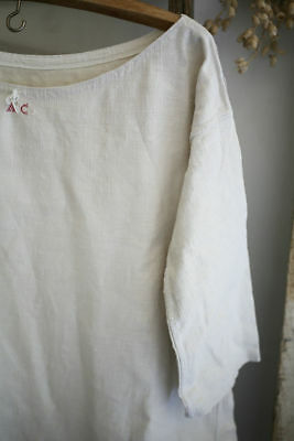 Antique French NIGHTSHIRT homespun LINEN 3/4 sleeves ACmono c1830