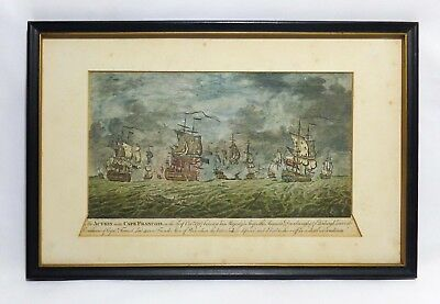 Rare 18Th Cent 1757 Color Woodblock Print Naval Battle Off Cape Francois Florida