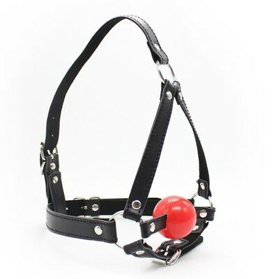 Faux Leather Straps Open Mouth Red Cherry Ball Gag Head Hood Fancy Dress Mask