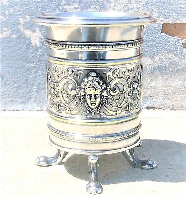 WMF ANTIQUE SILVER PLATED WINE CUP GOBLET CHALICE ca. 1900 OSTRICH MARK RARE