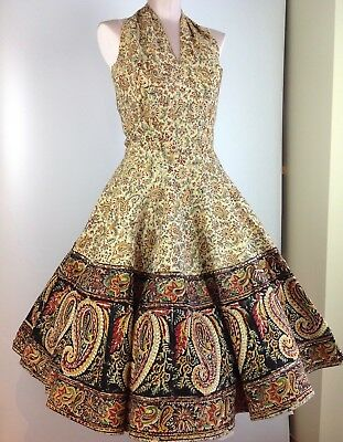 FAB 1950's Halter 2-Piece Full Skirt and Halter Top with Sequined Paisley VLV