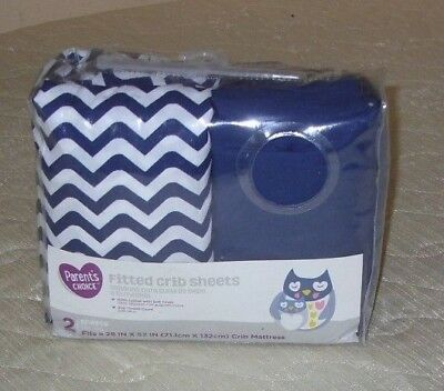 """Parent Choice 2 Pack Fitted Crib Sheets 28"""" x 52"""" Navy and White Chevron Print"""