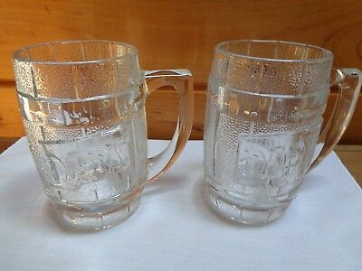 Vintage Lot of 2 Dad's Root Beer Clear Embossed Barrel Glass Mugs