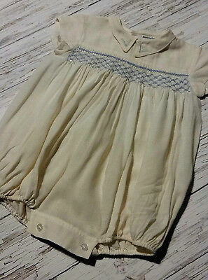 Vintage 1940's Embroidered Baby Romper/Bubble Suit by Harringtons. Age 3/6 mths.