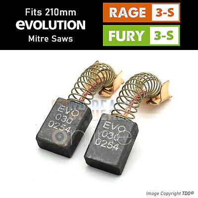 Evolution RAGE 3s & Fury 3 Carbon Brushes Sliding Mitre Saws 030-0254