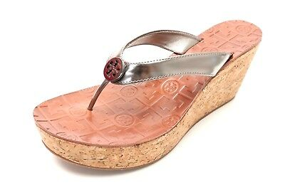 4c8693bb659b Womens TORY BURCH pewter patent leather wedge thong sandals 207810 sz. 9.5  NEW!
