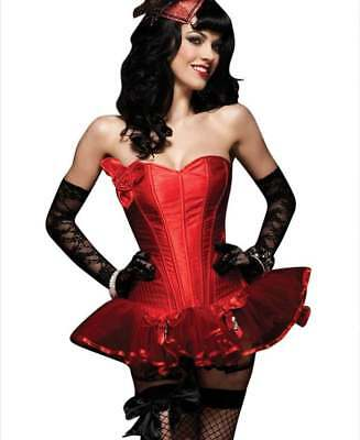 Leg Avenue Paige Rose Applique Corset w Boning Sweetheart Neckline, Red, S-L