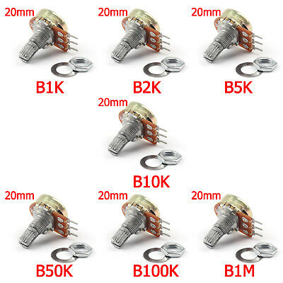 B1M B1K B2K B5K B10K B50K Einstellung Single Linear Rotary Potentiometer 20MM B3