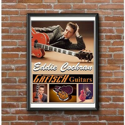 Eddie Cochran Classic Guitar Poster - Early Rockabilly Rock and Roll