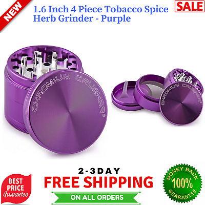 Tobacco Herb Spice Grinder Herbal Alloy Smoke Metal Chromium Crusher 4 Piece NEW