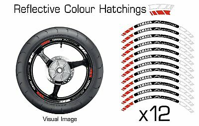Yamaha Red Reflective Motorcycle Wheel Tape Stickers Rim Decals Vinyl