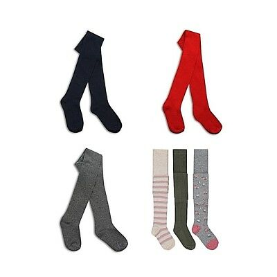 Girls Cotton Rich Pattern Plain Knitted Design School Casual Full Foot Tights