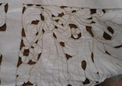 Vintage Italian Linen Tablecloth Figural Cutwork Maidens Dancing Ecru Embroidery