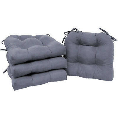 CHAIR CUSHIONS SET OF 4 Microfiber Pad Seat With Ties Durable ...