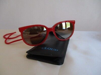 7fcd79f2078 Vintage Lion in the Sun Sunglasses Mirror Lenses With Red Cord Red Plastic  Frame