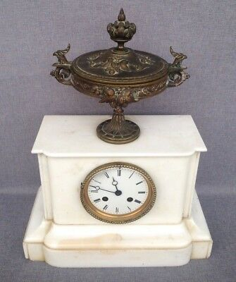 Antique Empire style french clock bronze and marble 19th century eagles