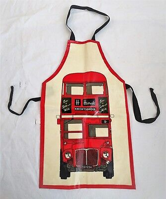 Vtg HARRODS Childs Apron by Ulster Weavers UK London Red Double Decker Bus PVC