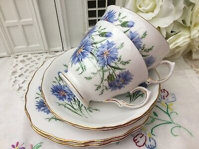 ROYAL VALE 1950s CUP SAUCER PLATE TRIO SET 2 for £20 BLUE CORNFLOWER BONE CHINA