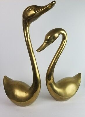 Vtg JUMBO Brass Swans Birds Pair Set Lifesize 26""