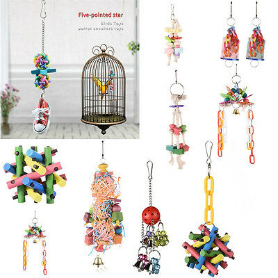 New Pet Bird Parrot Climb Chew toy Parakeet Cockatiel Cage Hanging Swing Toys