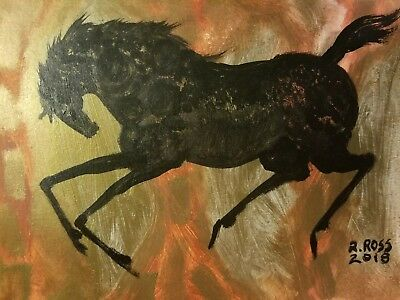 """Original Signed Painting by R. ROSS , Horse, not a copy """" Copper """""""