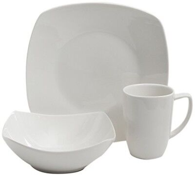 12 Piece Dinnerware Set Service for 4 Square White Dishes Plates Bowls Mugs  sc 1 st  PicClick & DINNERWARE SET 12 Piece Square Clear Glass Dishes Plates Bowls ...