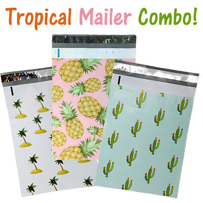 """10x13"""" Designer Tropical Poly Mailers Combo Pack, Quality Shipping Bag Envelopes"""