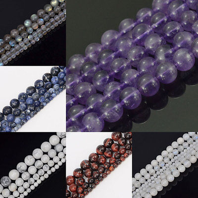 """Wholesale Natural Gemstone 4MM 6MM 8MM 10MM Round Loose Beads Strand 15""""  Pick"""