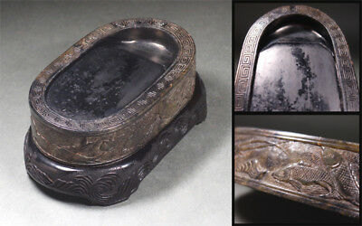 Chinese Qing Dynasty OLD INK STONE / W 8× D13.5× H 3[cm]
