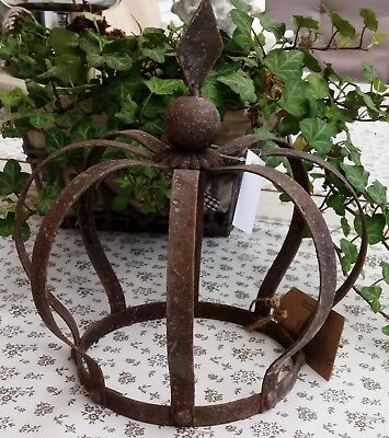 Crown Rust Metal Decode Shabby Vintage Country House Garden Iron Flower