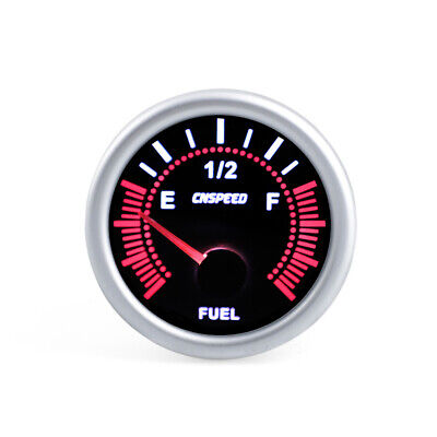"2"" 52mm Car LED Smoke Fuel Level Gauge Meter With Fuel Sensor E-1/2-F Pointer"