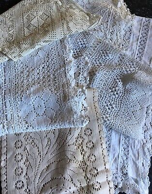 Vintage Cotton Lace Table Runners X 6