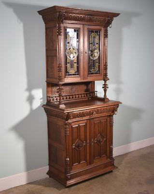 *French Antique Renaissance Revival Oak Bookcase/Buffet/Cabinet w/Stained Glass