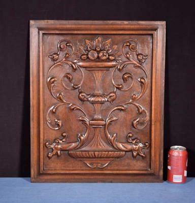 *French Antique Panel/Door in Solid Walnut Wood with Urn Salvage