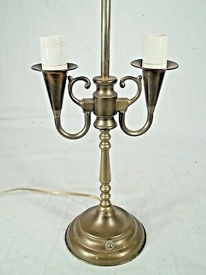 Vintage Mid Century Classical Colonial Style Double Trumpet Arm Lamp