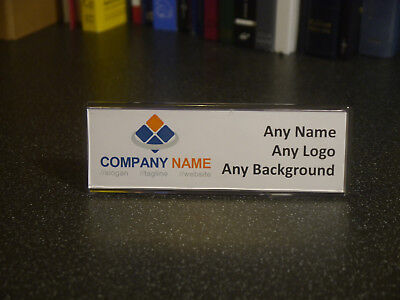 Acrylic Desk Name Plate Personalised plaque - Any name / position - Add logo