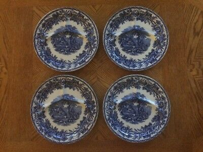 Vintage Blue Transferware Ceramic Divided Plates Set If 4 - British Scenery!!