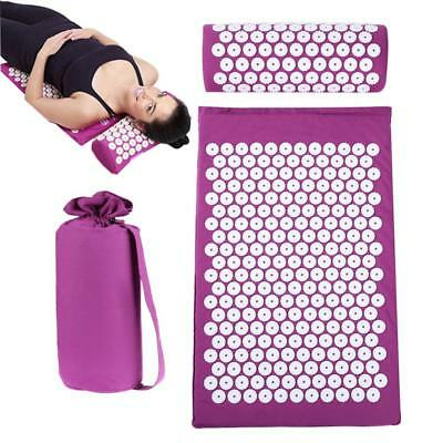 Acupressure Mat Relieve Neck & Body Pain Spike Yoga Cushion W/pillow And Bag Hot