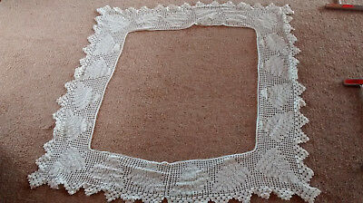 """Vintage hand crocheted lace edging for 26"""" square table cloth,7 1/2"""" deep"""